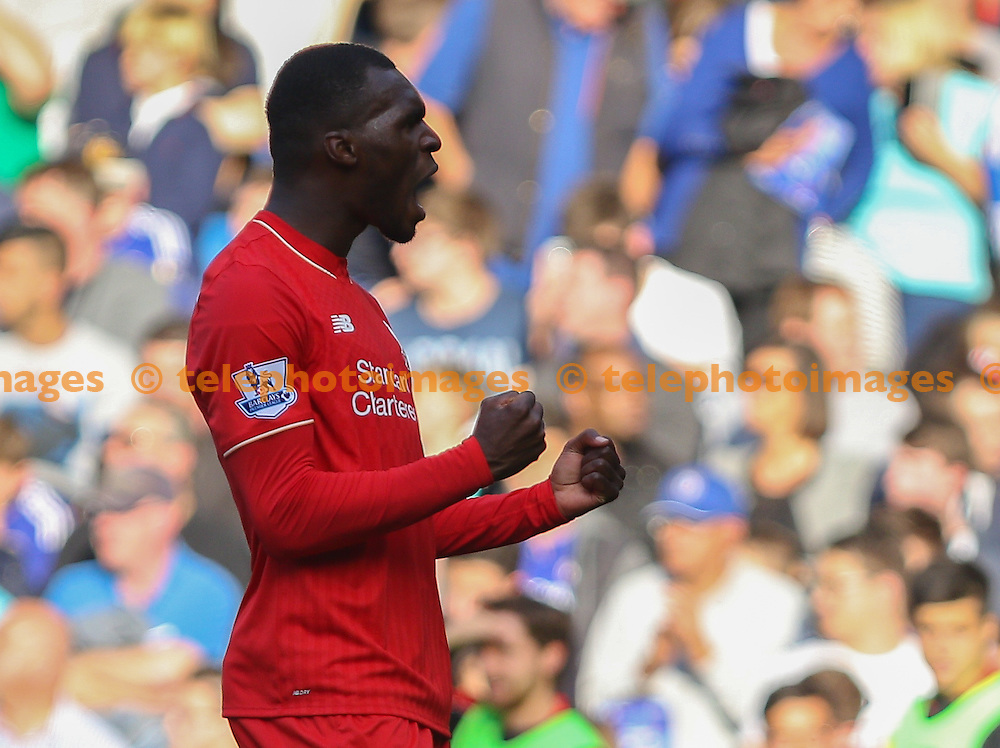 Christian Benteke of Liverpool celebrates scoring during the Barclays Premier League match between Chelsea and Liverpool at Stamford Bridge in London. October 31, 2015.<br /> Arron Gent / Telephoto Images<br /> +44 7967 642437