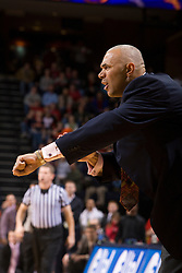 Virginia head coach Dave Leitao instructs his team to foul.  The Virginia Cavaliers fell to the Liberty Flames 86-82 in NCAA Division 1 men's basketball at the University of Virginia's John Paul Jones Arena  in Charlottesville, VA on March 9, 2008.
