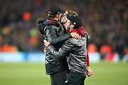 Liverpool Manager Jurgen Klopp, Liverpool midfielder Jordan Henderson (14) and Liverpool midfielder Adam Lallana (20) celebrate during the Champions League semi-final, leg 2 of 2 match between Liverpool and Barcelona at Anfield, Liverpool, England on 7 May 2019.