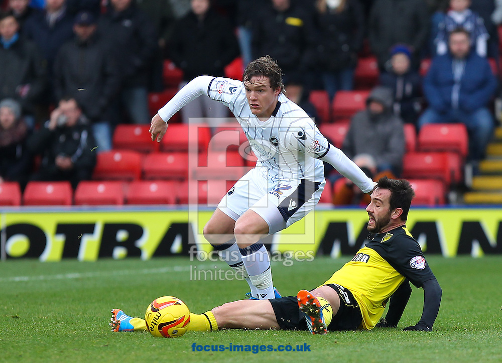 Picture by John Rainford/Focus Images Ltd +44 7506 538356<br /> 26/12/2013<br /> Marco Cassetti of Watford and Shane Lowry of Millwall during the Sky Bet Championship match at Vicarage Road, Watford.