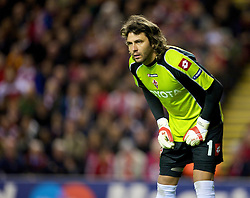 LIVERPOOL, ENGLAND - Wednesday, December 9, 2009: AFC Fiorentina's goalkeeper Sebastien Frey in action against Liverpool during the UEFA Champions League Group E match at Anfield. (Photo by David Rawcliffe/Propaganda)