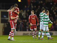 03/02/16 LADBROKES PREMIERSHIP<br /> ABERDEEN v CELTIC<br /> PITTODRIE - ABERDEEN<br /> Aberdeen's Ash Taylor (left) and Graeme Shinnie celebrate at full time