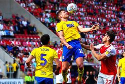 Lukas Jutkiewicz of Birmingham City heads the ball away in a dangerous area - Mandatory by-line: Ryan Crockett/JMP - 22/04/2019 - FOOTBALL - Aesseal New York Stadium - Rotherham, England - Rotherham United v Birmingham City - Sky Bet Championship
