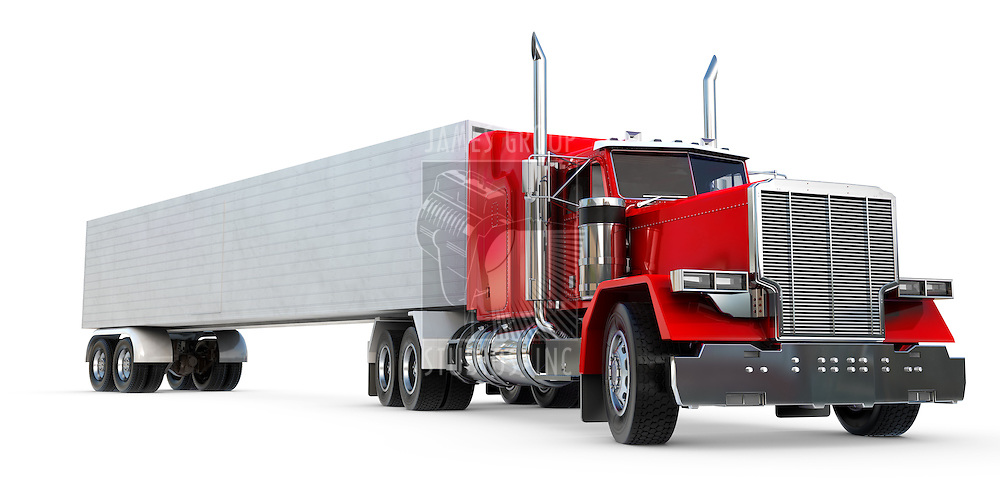 An 18 wheeler Semi-Truck on white.