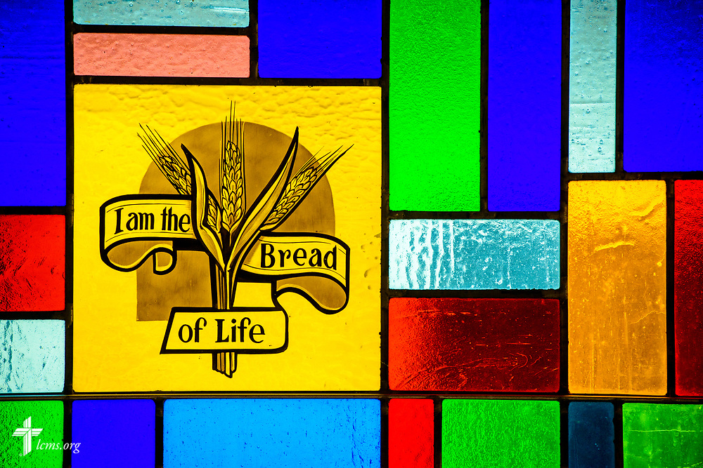 Stained glass depicting the bread of life with wheat stalks at Zion Lutheran Church, Worms, Neb., on Saturday, Sept. 23, 2017. LCMS Communications/Erik M. Lunsford