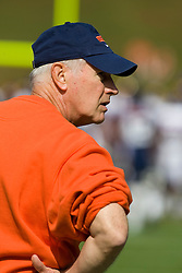 Virginia head coach Al Groh watches his team warm up.  The Virginia Cavaliers defeated the East Carolina Pirates 35-20 in NCAA football at Scott Stadium on the Grounds of the University of Virginia in Charlottesville, VA on October 11, 2008.