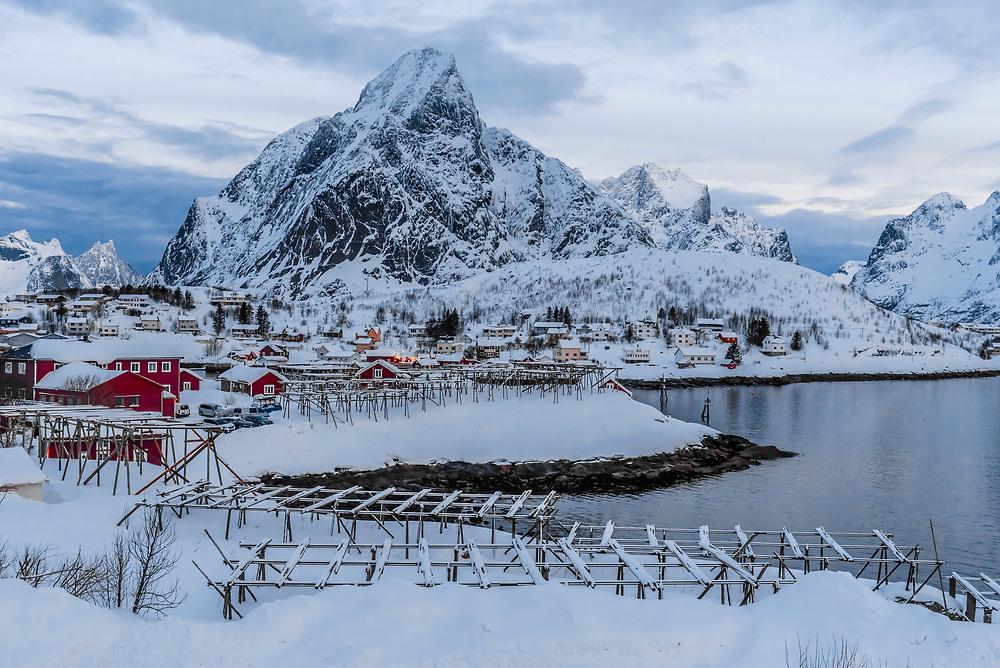 Fish drying racks, the fishing village of Reine, on Moskenseoya Island in the Lofoten Islands, Arctic, Northern Norway.