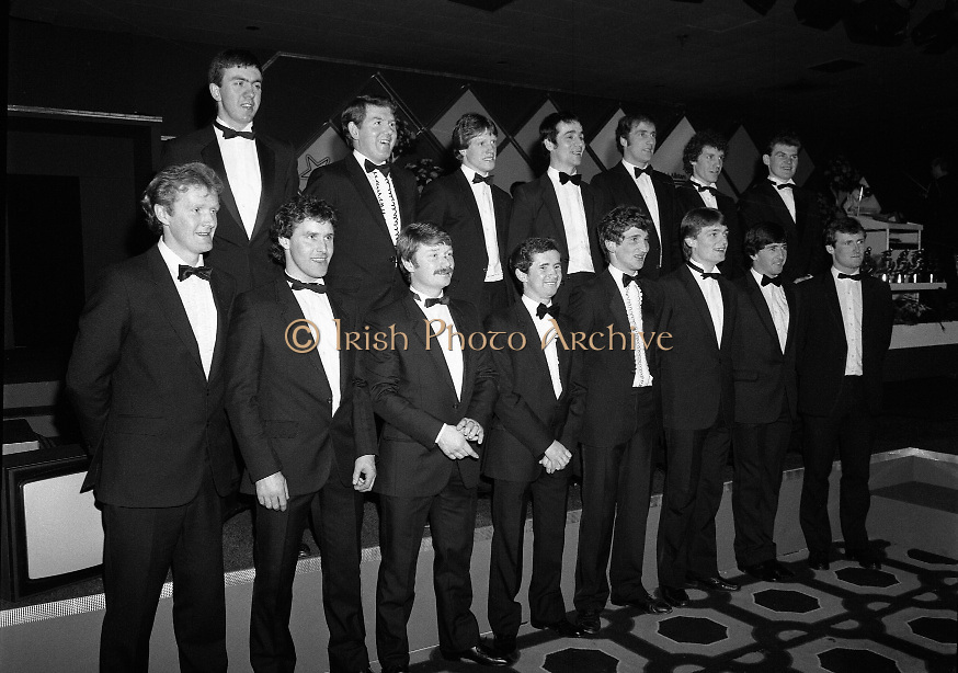 """Bank Of Ireland GAA Hurling Allstars..1986..31.01.1986..01.31.1986..31st January 1986..To celebrate their achievements on the field of hurling the following players were recognised by the GAA and Bank of Ireland:.Pat Delaney,Offaly.Seamus Coen, Galway.Sylvie Linnane,Galway.Ger Coughlan,Offaly.Liam Fennelly,Kilkenny.Nicholas English,Tipperary.John Fenton,Cork.Pat Cleary,Offaly.Ger Cunningham,Cork.Padraig Horan,Offaly.Joe Cooney,Galway.Brendan Lynsky,Galway.Eugene Coughlan,Offaly.Pat Critchly,Laois.Peter Finnerty,Offaly...Inducted into the Hall of Fame were Tim Landers and John Joe Landers for football and Frank O'Rourke for hurling.The award ceremony was held at The Burlington Hotel,Dublin...Photograph of the """"Allstars"""" as the line up for the media..L-R front row:.Pat Delaney,Offaly.Seamus Coen, Galway.Sylvie Linnane,Galway.Ger Coughlan,Offaly.Liam Fennelly,Kilkenny.Nicholas English,Tipperary.John Fenton,Cork.Pat Cleary,Offaly.L-R back row:.Ger Cunningham,Cork.Padraig Horan,Offaly.Joe Cooney,Galway.Brendan Lynsky,Galway.Eugene Coughlan,Offaly.Pat Critchly,Laois.Peter Finnerty,Offaly.."""