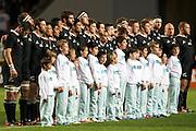 27.09.2014. All Blacks during national anthem. Test Match Argentina vs All Blacks during the Rugby Championship at Estadio Único de la Plata, La Plata, Argentina.