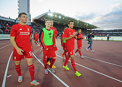 HELSINKI, FINLAND - Friday, July 31, 2015: Liverpool's Joe Maguire, Ryan Kent, and Pedro Chirivella after a friendly match against HJK Helsinki at the Olympic Stadium. (Pic by David Rawcliffe/Propaganda)