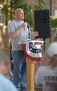 "Wisconsin resident Samuel ""Joe the Pliumber"" Wurzelbacher speaks at a Tax and Spend Must End sponsored rally in Petoskey, Michigan's Pennsylvania Park."