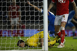 Bristol City's Frank Fielding can't stop Brighton & Hove Albion from scoring this time, Goal, Brighton's Sam Baldock scores, Brighton & Hove Albion 1-1 Bristol City - Mandatory byline: Jason Brown/JMP - 07966 386802 - 20/10/2015 - FOOTBALL - American Express Community Stadium - Brighton,  England - Brighton & Hove Albion v Bristol City - Championship