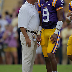19 September 2009: LSU Tigers offensive coordinator Gary Crowton talks with quarterback Jordan Jefferson (9) during warm ups before a 31-3 win by the LSU Tigers over the University of Louisiana-Lafayette Ragin Cajuns at Tiger Stadium in Baton Rouge, Louisiana.