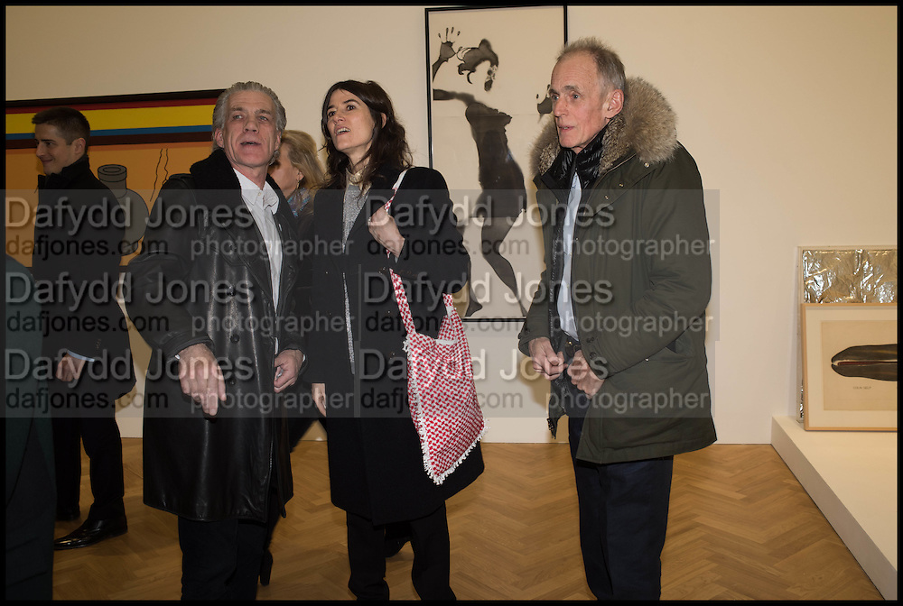 BELLA FREUD; JAMES FOX, Private view for A Strong Sweet Smell of Incense<br /> A Portrait of Robert Fraser, Curated by Brian Clarke. Pace Gallery. 6 Burlington Gardens. London. 5 February 2015.