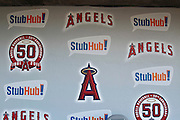 ANAHEIM, CA - APRIL  23:  Logos appear on the dugout wall before the game between the Boston Red Sox and the Los Angeles Angels of Anaheim on Saturday, April 23, 2011 at Angel Stadium in Anaheim, California. The Red Sox won the game in a 5-0 shutout. (Photo by Paul Spinelli/MLB Photos via Getty Images)