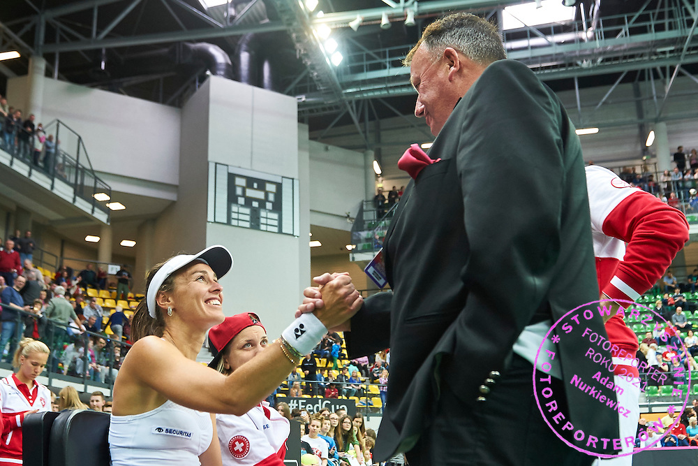(L) Martina Hingis and (R) Swiss Tennis president Rene Stammbach after first game during the Fed Cup / World Group Play Off tennis match between Poland and Switzerland on April 18, 2015 in Zielona Gora, Poland<br /> Poland, Zielona Gora, April 18, 2015<br /> <br /> Picture also available in RAW (NEF) or TIFF format on special request.<br /> <br /> For editorial use only. Any commercial or promotional use requires permission.<br /> <br /> Adam Nurkiewicz declares that he has no rights to the image of people at the photographs of his authorship.<br /> <br /> Mandatory credit:<br /> Photo by &copy; Adam Nurkiewicz / Mediasport