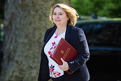 London, UK. 14 May, 2019. Karen Bradley MP, Secretary of State for Northern Ireland, arrives at 10 Downing Street for a Cabinet meeting.