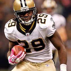 October 3, 2010; New Orleans, LA, USA; New Orleans Saints running back Chris Ivory (29) runs during the first quarter against the Carolina Panthers at the Louisiana Superdome. Mandatory Credit: Derick E. Hingle