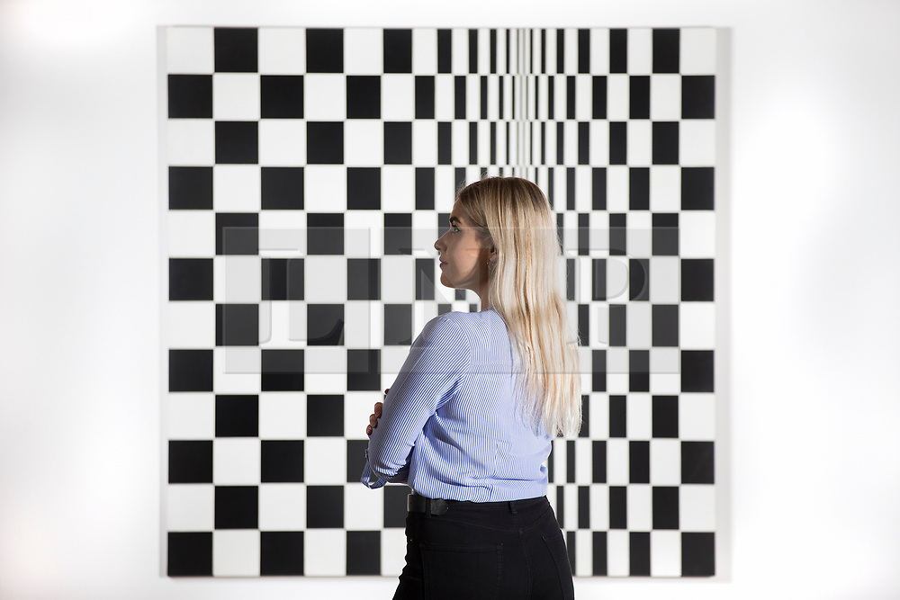 © Licensed to London News Pictures. 29/03/2017. Wakefield UK. Millie Carroll looks at the art work by Bridget Riley called Movement in Squares which is part of the Kaleidoscope exhibition at Yorkshire Sculpture Park. The Yorkshire Sculpture Park has two new exhibitions drawn from the Arts Council Collection. The Re-Construct exhibit featuring Cornelia Parker & Alex Chinneck & the Kaleidoscope exhibition, a new Arts Council Collection touring exhibition. Photo credit: Andrew McCaren/LNP