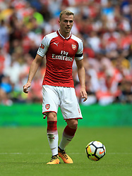 "Arsenal's Rob Holding during the Community Shield at Wembley, London. PRESS ASSOCIATION Photo. Picture date: Sunday August 6, 2017. See PA story SOCCER Community Shield. Photo credit should read: Nigel French/PA Wire. RESTRICTIONS: EDITORIAL USE ONLY No use with unauthorised audio, video, data, fixture lists, club/league logos or ""live"" services. Online in-match use limited to 75 images, no video emulation. No use in betting, games or single club/league/player publications."