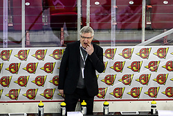 Kari Saovolainen, head coach of Slovenia during Ice Hockey match between National Teams of Italy and Slovenia in Round #5 of 2018 IIHF Ice Hockey World Championship Division I Group A, on April 28, 2018 in Arena Laszla Pappa, Budapest, Hungary. Photo by David Balogh / Sportida