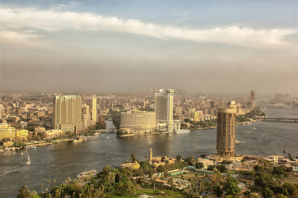 view from Cairo Tower with Nile River, Cairo, Egypt