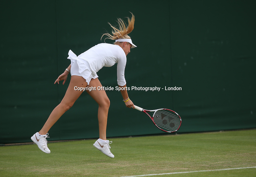 25 June 2014 Wimbledon Tennis - Donna Vekic in action.