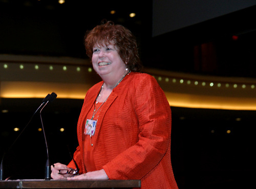 Sharon Rab delivers introductory remarks during the 2009 Dayton Literary Peace Prize dinner and awards presentation at the Schuster Center in downtown Dayton, Sunday November 08, 2009.