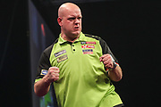 Michael van Gerwin hits a double and wins a leg during the Grand Slam of Darts, at Aldersley Leisure Village, Wolverhampton, United Kingdom on 17 November 2019.