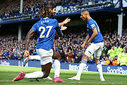 Everton forward Richarlison (7)celebrates his goal with Everton midfielder Andre Gomes (21) and Everton forward Moise Kean (27) during the Premier League match between Everton and Wolverhampton Wanderers at Goodison Park, Liverpool, England on 1 September 2019.