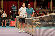 Xavier Malisse and Tommy Haas before the Champions Tennis match at the Royal Albert Hall, London, United Kingdom on 6 December 2018. Picture by Ian Stephen.