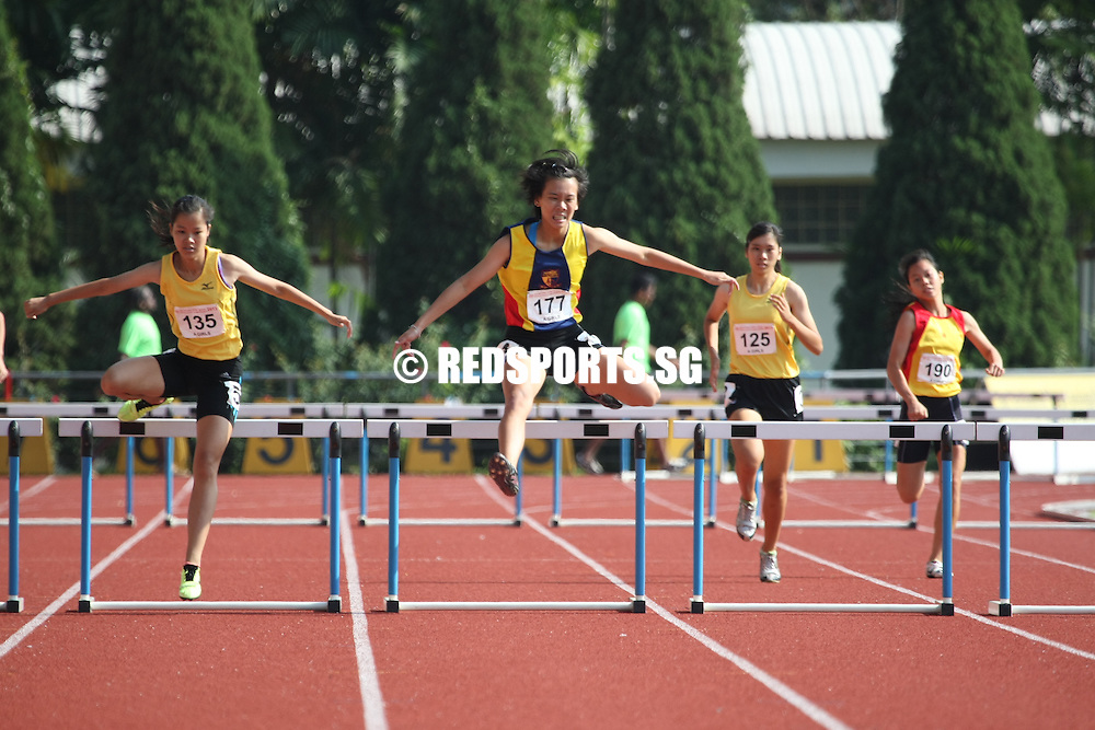 Choa Chu Kang Sports Complex, Monday, April 15, 2013 &mdash; Clarice Mak of Victoria Junior College (VJC) emerged victorious in the A Division girls&rsquo; 400 metres hurdles final, clocking a time of 1 minute 8 seconds at the 54th National Schools Track and Field Championships.<br />