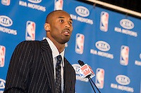 06 May 2008: Guard Kobe Bryant of the Los Angeles Lakers speaks to the media after winning the 2008 Most Valuable Player award in Los Angeles, CA.