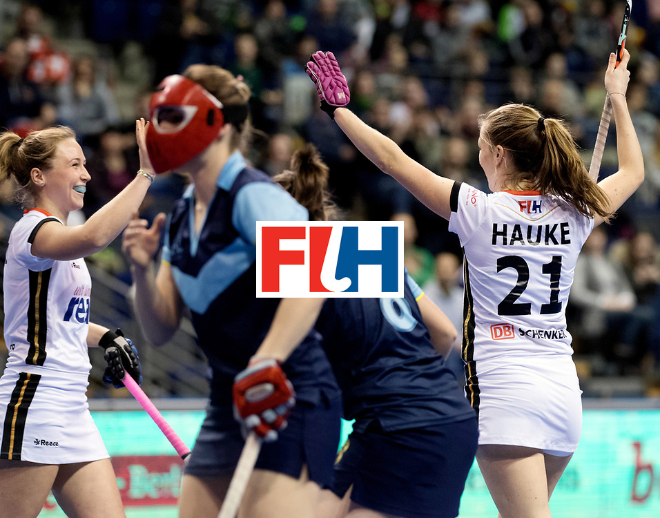 BERLIN - Indoor Hockey World Cup<br /> Women: Ukraine - Germany<br /> foto: Franzisca Hauke scored.<br /> WORLDSPORTPICS COPYRIGHT FRANK UIJLENBROEK