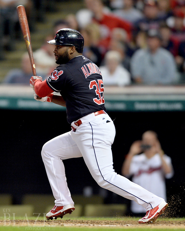Sep 2, 2016; Cleveland, OH, USA; Cleveland Indians left fielder Abraham Almonte (35) hits an RBI double during the fifth inning against the Miami Marlins at Progressive Field. Mandatory Credit: Ken Blaze-USA TODAY Sports