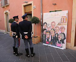 May 27, 2017 - Taormina, Sicily, Italy - Painting of Leaders of G7 Summit are show in the island of Sicily in Taormina. (Credit Image: © Gabriele Maricchiolo/NurPhoto via ZUMA Press)
