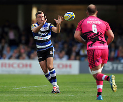 George Ford of Bath Rugby receives the ball - Photo mandatory by-line: Patrick Khachfe/JMP - Mobile: 07966 386802 13/09/2014 - SPORT - RUGBY UNION - Bath - The Recreation Ground - Bath Rugby v London Welsh - Aviva Premiership