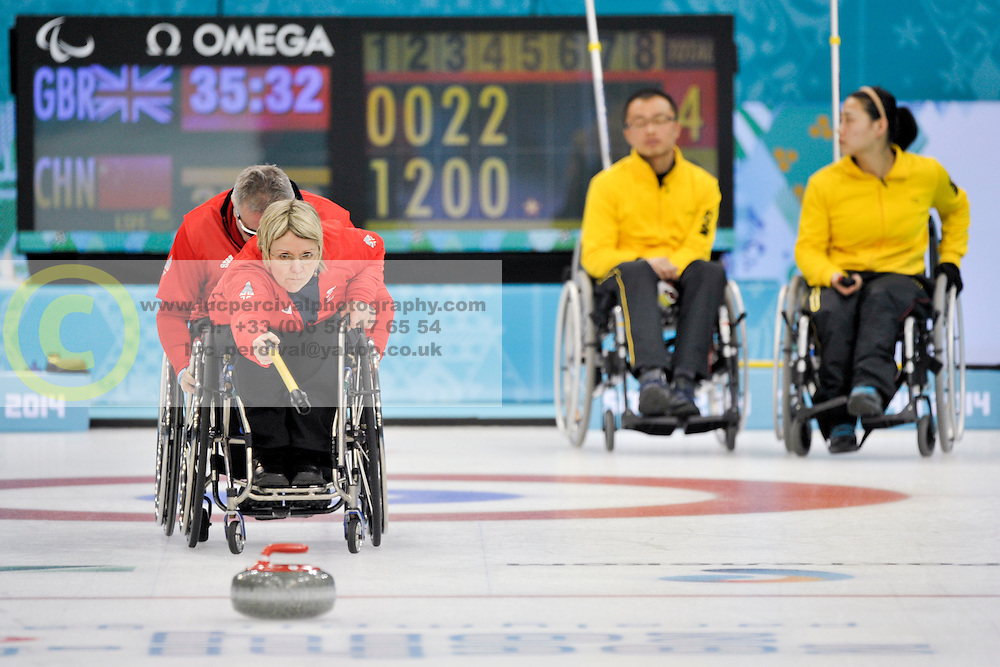 Angie  Malone, Jim Gault, Qiang Zhang, Guangqin Xu, Wheelchair Curling Finals at the 2014 Sochi Winter Paralympic Games, Russia