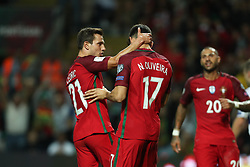 August 31, 2017 - Porto, Porto, Portugal - Portugal's forward Nelson Oliveira (C) celebrates after scoring a goal during the FIFA World Cup Russia 2018 qualifier match between Portugal and Faroe Islands at Bessa Sec XXI Stadium on August 31, 2017 in Porto, Portugal. (Credit Image: © Dpi/NurPhoto via ZUMA Press)