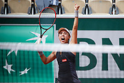 Wang Qiang (CHN) satisfaction at last point winned against Venus William (USA) during the Roland Garros French Tennis Open 2018, day 1, on May 27, 2018, at the Roland Garros Stadium in Paris, France - Photo Stephane Allaman / ProSportsImages / DPPI