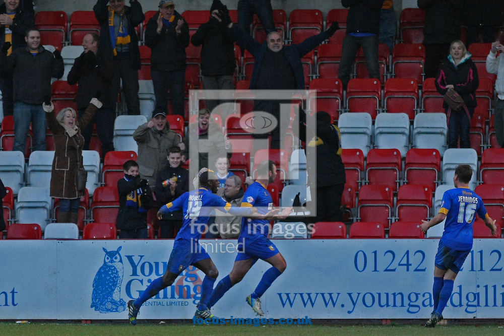 Picture by Mark Hawkins/Focus Images Ltd 07949 023795<br /> 29/12/2013<br /> Matt Rhead (centre) of Mansfield Town celebrates making the score 0-2 during the Sky Bet League 2 match against Cheltenham Town at The Abbey Business Stadium, Cheltenham.