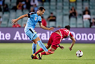 SYDNEY, NSW- NOVEMBER 21: Adelaide United defender Mark Ochieng (12) and Sydney FC forward Bobo (9) come together at the FFA Cup Final Soccer between Sydney FC and Adelaide United on November 21, 2017 at Allianz Stadium, Sydney. (Photo by Steven Markham/Icon Sportswire)