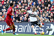 Fulham defender Maxime Le Marchand (20) and Liverpool defender Trent Alexander-Arnold (66) during the Premier League match between Liverpool and Fulham at Anfield, Liverpool, England on 11 November 2018.
