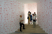 VENICE, ITALY..49th Biennale of Venice.Italian Pavillion..Wall Paintings by Olaf Nicolai..(Photo by Heimo Aga)