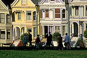 Image of Victorian homes at Alamo Square, San Francisco, California, America west coast