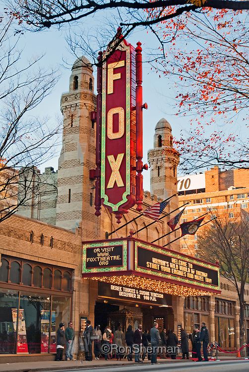 The Fox Theatre, often marketed as the Fabulous Fox, a former movie palace, is a performing arts venue located at 660 Peachtree Street NE in Midtown Atlanta, Georgia, and is the centerpiece of the Fox Theatre Historic District.  The theater was originally planned as part of a large Shrine Temple as evidenced by its Moorish design. The 4,678 seat auditorium was ultimately developed as a lavish movie theater in the Fox Theatres chain and opened in 1929. It hosts a variety of cultural and artistic events including the Atlanta Ballet, a summer film series, and performances by national touring companies of Broadway shows. The venue also hosts occasional concerts by popular artists.