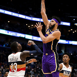 Mar 31, 2019; New Orleans, LA, USA; Los Angeles Lakers center JaVale McGee (7) shoots over New Orleans Pelicans forward Cheick Diallo (13) during the first quarter at the Smoothie King Center. Mandatory Credit: Derick E. Hingle-USA TODAY Sports
