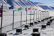 Overview of Green Dog Svalbard sled dog kennel in April near Longyearbyen, Svalbard, Norway.
