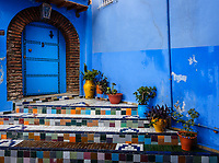 CHEFCHAOUEN, MOROCCO - CIRCA MAY 2018: Typical door of the streets of Chefchaouen