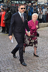 © Licensed to London News Pictures. 07/06/2017. London, UK. DAVID WALLIAMS with his mother KATHLEEN WALLIAMS attends a service of Thanksgiving for the life and work of RONNIE CORBETT at Westminster Abbey. The entertainer, comedian, actor, writer, and broadcaster was best known for his long association with Ronnie Barker in the BBC television comedy sketch show The Two Ronnies. Photo credit: Ray Tang/LNP